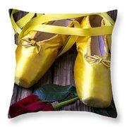 Yellow Ballet Shoes Throw Pillow