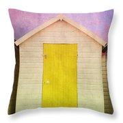 Yellow Beach Hut Throw Pillow