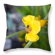 Yellow Bell Flower With Honeybee Throw Pillow