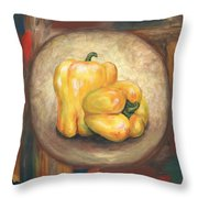 Yellow Bell Peppers Throw Pillow