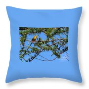 Yellow Bird In A Juniper Tree Throw Pillow