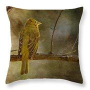 Yellow Bird Resting Throw Pillow