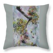 Yellow Blossoms Painting Flowr Butterflies Art Abstract Modern Spring Color Flower Art Throw Pillow