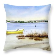 Yellow Boat I Throw Pillow