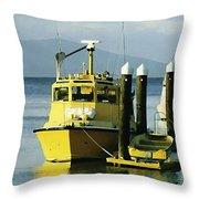 Yellow Boats Throw Pillow by Ellen Henneke