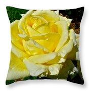 Yellow Bob Berry Rose Throw Pillow