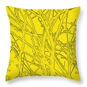 Yellow Branches Throw Pillow