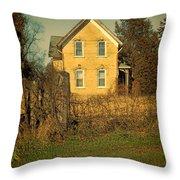 Yellow Brick Farmhouse Throw Pillow