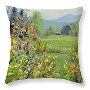 Yellow Broom Spring Throw Pillow