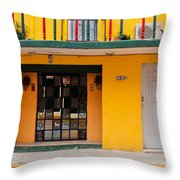 Yellow Buidling Mexico Throw Pillow