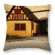 Yellow Building And Wall In Rothenburg Germany Throw Pillow