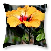 Yellow Bumble Bee Flower Throw Pillow
