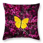 Yellow Butterfly On Red Flowering Bush Throw Pillow