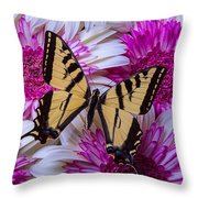 Yellow Butterfly Resting Throw Pillow