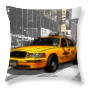 Yellow Cab At The Times Square -comic Throw Pillow