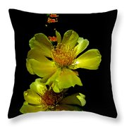 Yellow Cactus Flowers And Buds Throw Pillow