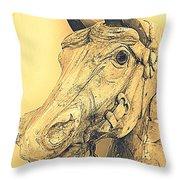 Yellow Carousel Horse Throw Pillow