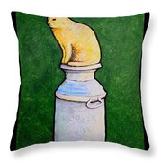 Yellow Cat On Milk Can Throw Pillow