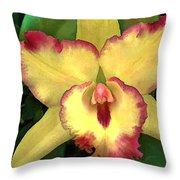 Yellow Cattleya With Red Ruffles Throw Pillow