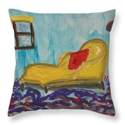Yellow Chaise-red Pillow Throw Pillow
