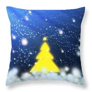 Yellow Christmas Tree Throw Pillow