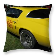 Yellow Classic Car Diablo At The Show Throw Pillow