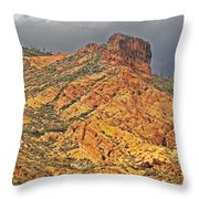 Yellow Colored Rock Along The Apache Trail Throw Pillow