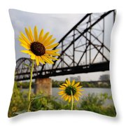 Yellow Cone Flowers And Bridge Throw Pillow