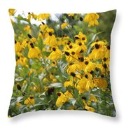 Yellow Cone Flowers Throw Pillow