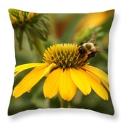 Yellow Coneflower And Bee Throw Pillow