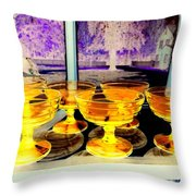 Yellow Cups Throw Pillow