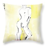 Yellow Curtain Throw Pillow