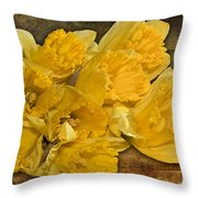 Yellow Daffodils And Texture Throw Pillow