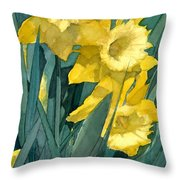 Watercolor Painting Of Blooming Yellow Daffodils Throw Pillow