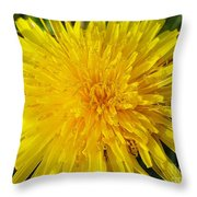 Yellow Dandelion With A Little Heart Throw Pillow