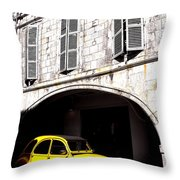 Yellow Deux Chevaux In Shadow Throw Pillow