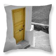 Yellow Door Of Oia Throw Pillow