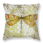 Yellow Dragonfly On Vintage Tin Throw Pillow