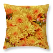 Yellow Fall Mums Throw Pillow