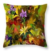 Yellow Fantasy Flower Garden Throw Pillow