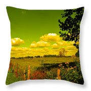 Yellow Fencerow Throw Pillow