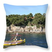 Yellow Fishing Boat - Cote D'azur Throw Pillow