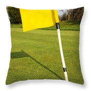 Yellow Flag On The Green Throw Pillow
