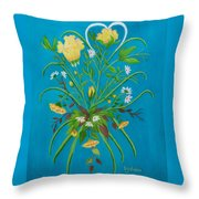Yellow Floral Enchantment In Turquoise Throw Pillow