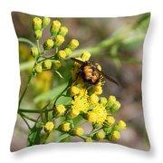 Yellow Flower Bee Throw Pillow
