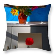 Yellow Flower In A Vase Of Clay. Throw Pillow