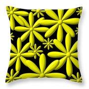 Yellow Flower Power 3d Digital Art Throw Pillow