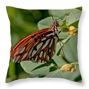 Yellow Flower With Gulf Fritillary Butterfly Throw Pillow