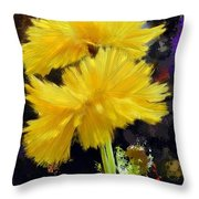 Yellow Flower With Splatter Background Throw Pillow
