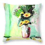 Yellow Flowers 1 Throw Pillow